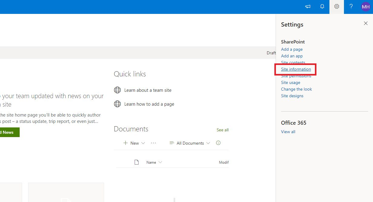 Deleting a SharePoint Site Step 2